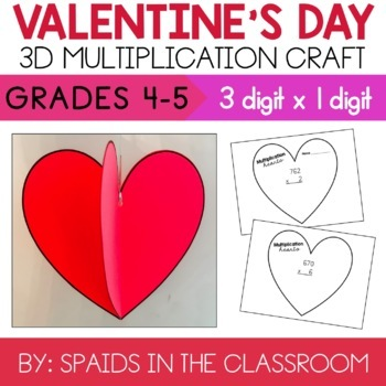 3 by 1 Digit Multiplication Valentine's Day Heart Craft & Activity