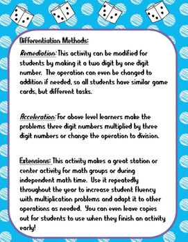 3 by 2 Multiplication Roll Game