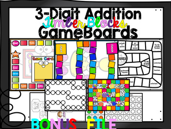 3 by 3 Digit Addition Timber Blocks (Jenga Based OR Board Based Games