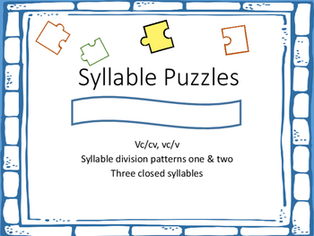 3 closed syllable puzzles