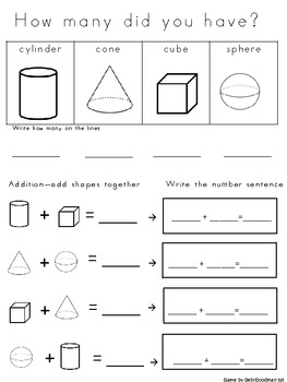 3-d Shape Graphing with worksheet