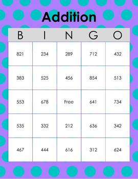 3-digit Addition BINGO