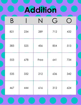 image relating to Addition Bingo Printable known as Addition Bingo Worksheets Coaching Components TpT