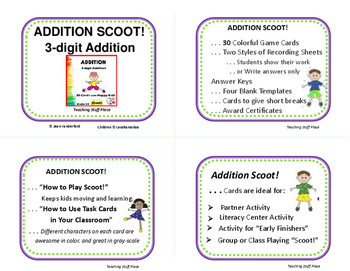 ADDITION - 3-digit | Regrouping | ADD SCOOT  | Gr. 3-4 MATH Core