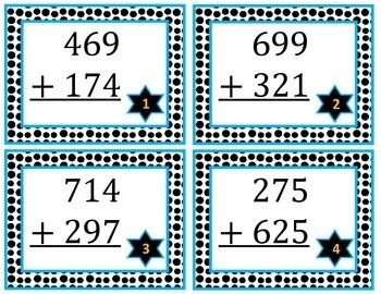 3-digit Addition Task Cards with Regrouping