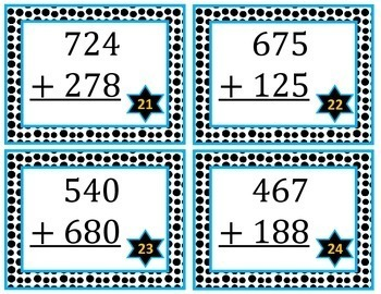 3 Digit Addition Task Cards with Regrouping