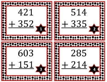 3-digit Addition Task Cards without Regrouping