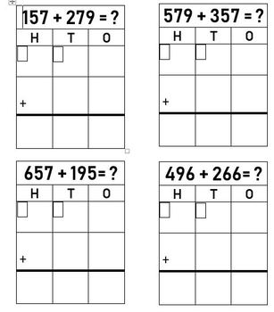 3 digit Addition Template