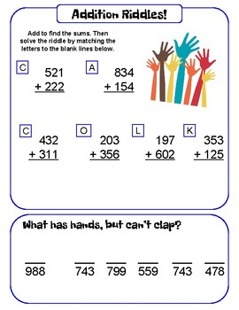 3-digit Addition and Subtraction Riddles