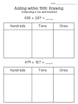 3-digit Addition and Subtraction with Base Ten Drawings