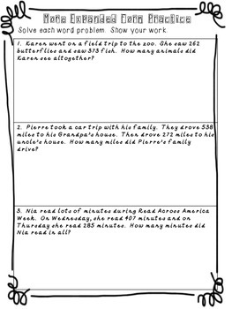 3 digit Addition with Expanded Form Worksheets