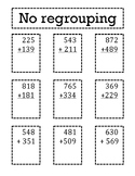 3 digit Addition with and without regrouping Sort
