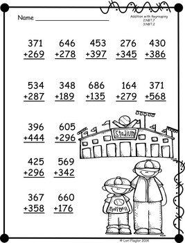 3 digit Additon and Subtraction with Regrouping Printables-