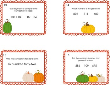 3-digit Place Value Task Cards - Pumpkin Theme