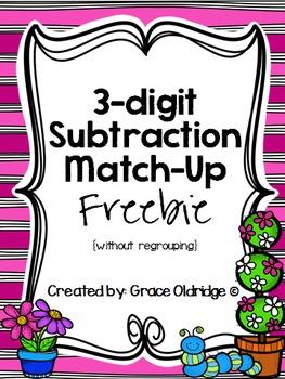 3-digit Subtraction Match-Up FREEBIE