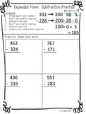3 digit Subtraction using Expanded Form/Break Apart Worksheets
