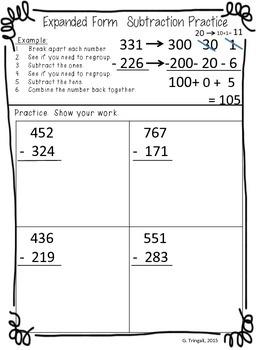 3 digit subtraction using expanded form break apart worksheets tpt. Black Bedroom Furniture Sets. Home Design Ideas