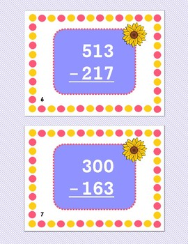 3-digit Subtraction with Regrouping Task Cards