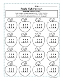 3-digit Subtraction Coloring Page -NO PREP Fall Apples Worksheet