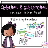3 digit adding and subtracting math center sort