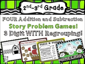 3 digit addition and Subtraction Word Problem Math Center Games WITH Regrouping