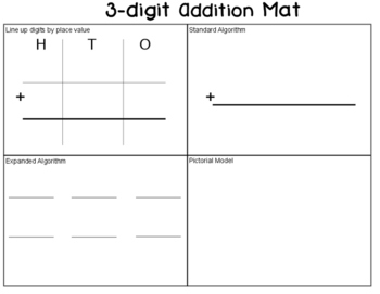 3 digit addition mat