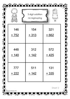 3 digit addition practice sheets (no regrouping)