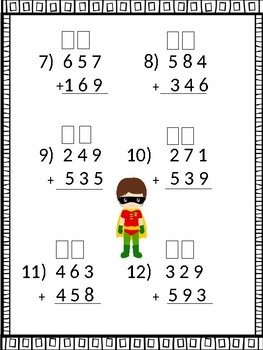 3 digit addition with boxes for regrouping