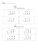 3 digit addition/subtraction with regrouping choice worksheet