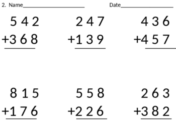 3-digit addition with regrouping cut-n-paste