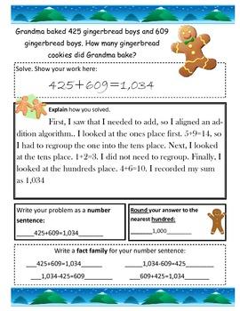 3 digit addition/subtraction story problems Winter theme 3.NBT.1 3.NBT.2