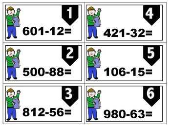 3- digit and 2- digit subtraction TASK CARDS