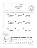 3-digit by 1-digit Division Without Remainders- Spring Riddle Worksheet