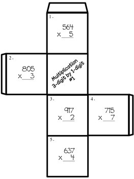 3 digit by 1 digit Multiplication - Roll and Record Center Activity