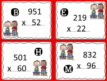 3 digit by 2 digit Multiplication Practice- Secret Message