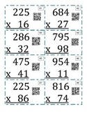 3 digit by 2 digit Multiplication QR Task Cards