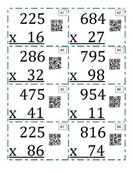 3 digit by 2 digit Multiplication QR Task Cards