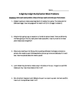 2 digit times 2 digit multiplication word problems