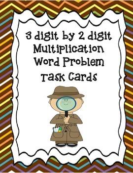 3 digit by 2 digit multiplication word problem task cards