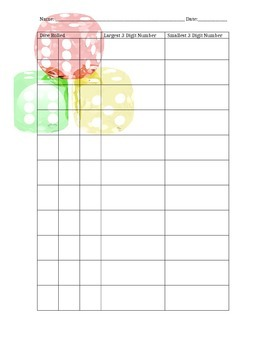 3 digit dice place value game sheet