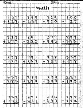 3 digit math work sheet (addionand subtraction  within a grid)