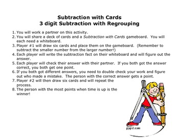 3 digit subtraction with cards math center game