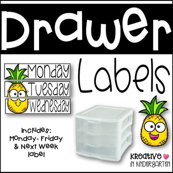 Sterilite Drawer Monday-Friday Labels Pineapple Edition