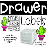 Sterilite Drawer Monday-Friday Labels Cactus Edition