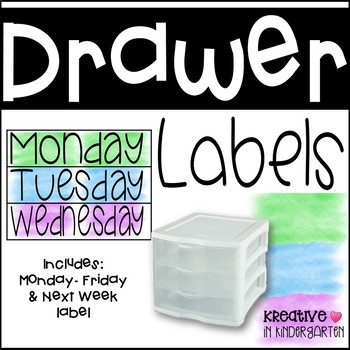 Sterilite Drawer Monday-Friday labels Watercolor Edition