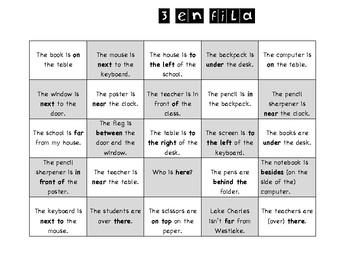 3 en fila - prepositions