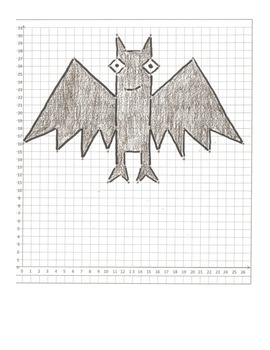 Halloween Coordinate Graphing Pictures: Cat,  Bat, & Owl: All quadrant one