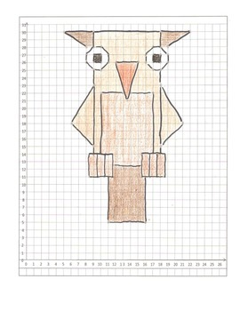 Halloween Coordinate Plane Graphing Pictures: Cat,  Bat, & Owl: All quadrant one