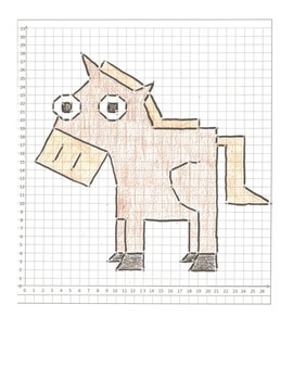 Coordinate Graphing Animal Pictures:  a Crab,  a Horse, & a Snake:  All quad one