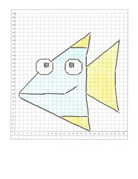 Coordinate Graphing Animal Pictures:  a Fox,  a Bee, & a Fish  All quadrant One